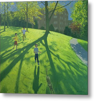 Children Running In The Park Metal Print by Andrew Macara