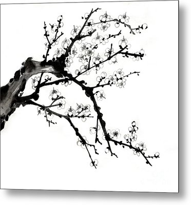 Chinese Ink Plum Blossom Painting Metal Print by Evelyn Sichrovsky