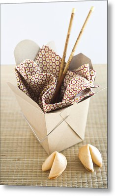 Chinese Takeout Container And Fortune Cookies Metal Print by Pam McLean