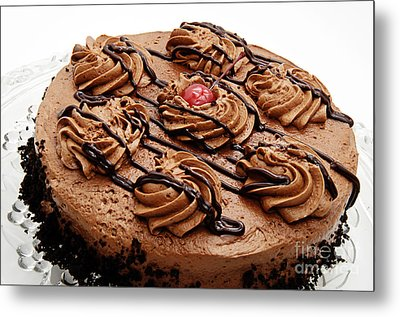 Chocolate Cake With A Cherry On Top 2 Metal Print by Andee Design