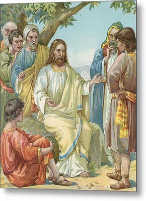 Christ And His Disciples Metal Print by Ambrose Dudley