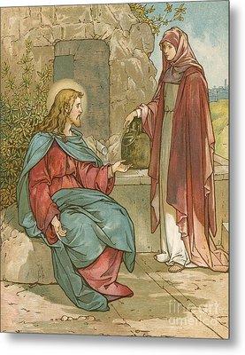 Christ And The Woman Of Samaria Metal Print by John Lawson