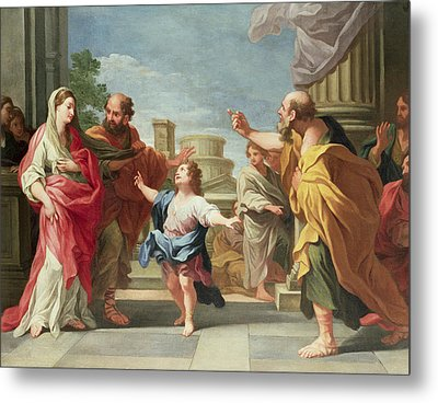 Christ Preaching In The Temple Metal Print by Ludovico Gimignani