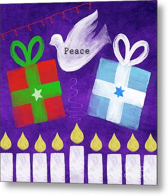 Christmas And Hanukkah Peace Metal Print by Linda Woods
