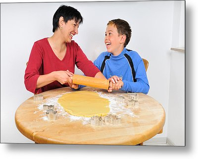 Christmas Baking - Mother And Son Laughing Metal Print by Matthias Hauser