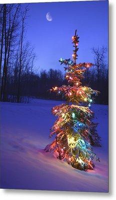 Christmas Tree Outdoors Under Moonlight Metal Print by Carson Ganci