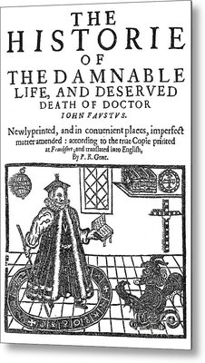 Christopher Marlowes Faustus, Title Metal Print by Science Source