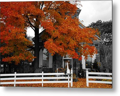 Church In Autumn Metal Print by Andrea Kollo