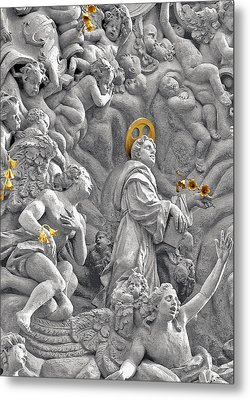 Church Of St James The Greater Prague - Stucco Bas-relief Metal Print by Christine Till