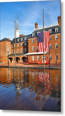 City Hall And Reflections II Metal Print by Steven Ainsworth