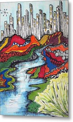 City Meets Nature Metal Print by Lynne Howard
