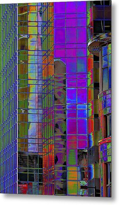 City Windows Abstract Pop Art Colors Metal Print by Phyllis Denton