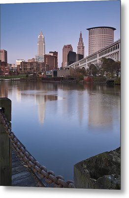 Cleveland From The River - Portrait Metal Print by At Lands End Photography