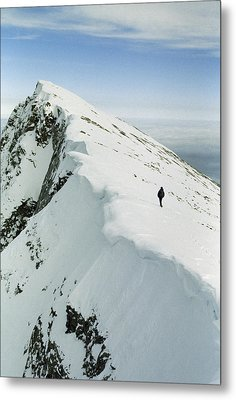 Climber Approaches False Summit Metal Print by Gordon Wiltsie