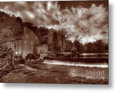 Clinton Red Mill House Sepia Metal Print by Lee Dos Santos