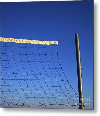 Close-up Of A Volleyball Net Abandoned. Metal Print by Bernard Jaubert