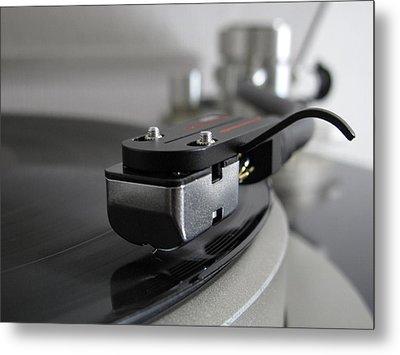 Close Up Of Record Player Metal Print by Hiroshi Uzu