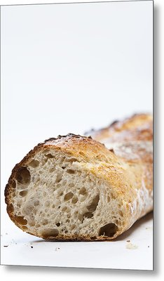 Close Up Of Sliced Loaf Of Bread Metal Print by Henn Photography