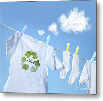 Clothes Drying On Clothesline With Go Green Sign  Metal Print by Sandra Cunningham