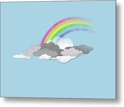 Clouds And A Rainbow Metal Print by Jutta Kuss