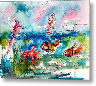 Clown Fish Deep Sea Watercolor Metal Print by Ginette Callaway