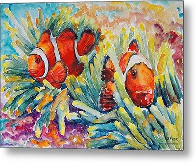 Clownfish In Their Paradise Metal Print by Barbara Pommerenke