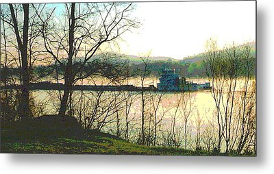 Coal Barge In Ohio River Mist Metal Print by Padre Art
