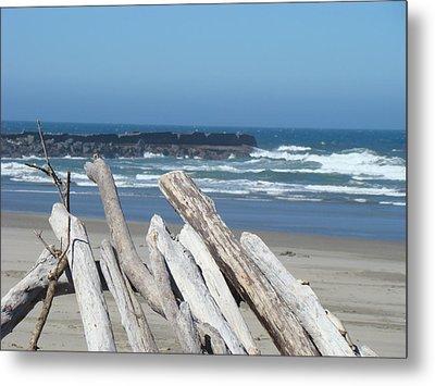 Coastal Driftwood Art Prints Blue Sky Ocean Waves Metal Print by Baslee Troutman