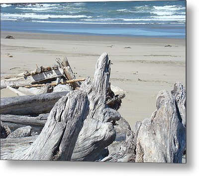 Coastal Driftwood Art Prints Blue Waves Ocean Metal Print by Baslee Troutman
