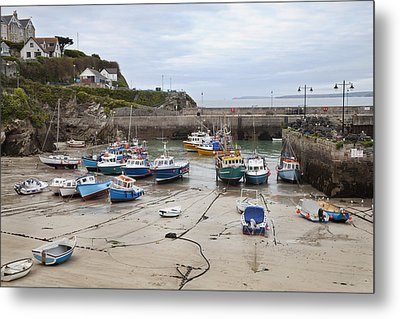 Coastal Town Harbour With Boats Metal Print by Mikhail Lavrenov