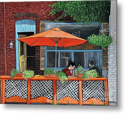 Coffee At Nu Art Cafe Verdun Metal Print by Reb Frost