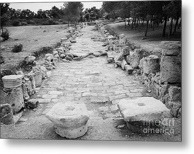 Colonnaded Street In The Ancient Site Of Salamis Famagusta Turkish Republic Of Northern Cyprus Trnc Metal Print by Joe Fox