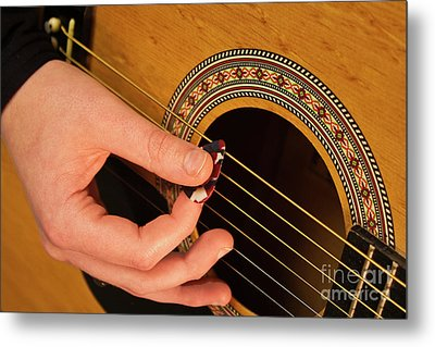 Color Guitar Picking Metal Print by Michael Waters