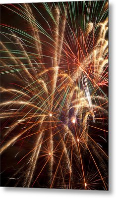 Colorful Fireworks Metal Print by Garry Gay