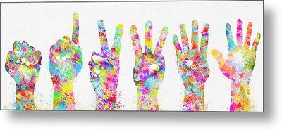 Colorful Painting Of Hands Number 0-5 Metal Print by Setsiri Silapasuwanchai