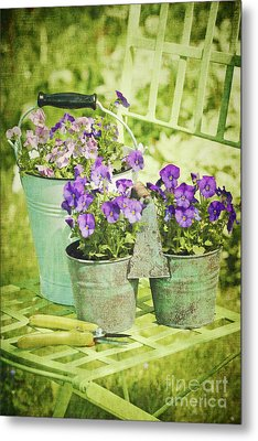 Colorful Spring Flowers On Garden Chair Metal Print by Sandra Cunningham