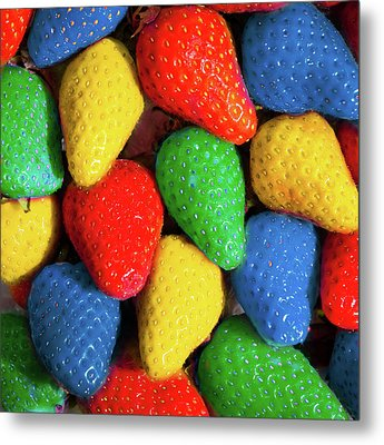 Colourful Strawberries Metal Print by Peter Chadwick LRPS