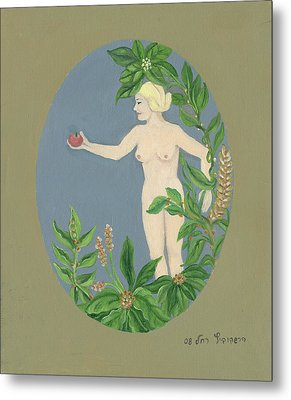 Come And Get It Eva Offers A Red Apple  To Adam In Green Vegetation Leaves Plants And Flowers Blond  Metal Print by Rachel Hershkovitz