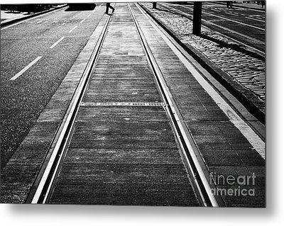 Completed Tram Rails On Princes Street Edinburgh Scotland Uk United Kingdom Metal Print by Joe Fox