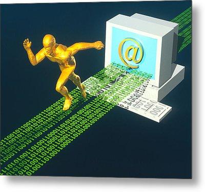 Computer Artwork Of E-mail As A Sprinter Metal Print by Laguna Design