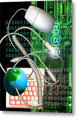 Computer Artwork Of Internet Communication Metal Print by Victor Habbick Visions