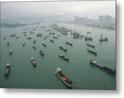 Container Ships In Hong Kong Harbor Metal Print by Justin Guariglia