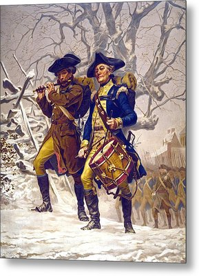 Continental Army Color Guard, Playing Metal Print by Everett