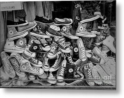 Converse Running Shoes Metal Print by Helen  Bobis