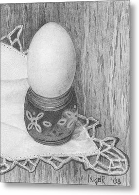 Cooked Egg With Napkin Metal Print by Inger Hutton