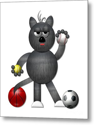 Cool Alley Cat Athlete Metal Print by Rose Santuci-Sofranko