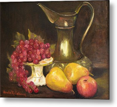 Copper Pitcher With Fruit Metal Print by Aurelia Nieves-Callwood
