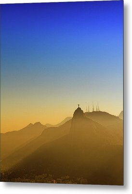 Corcovado Mountain And Christ Redeemer At Sunset Metal Print by Antonello