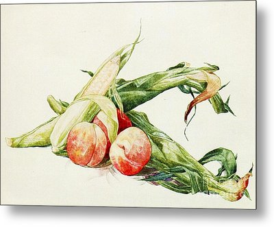 Corn And Peaches Metal Print by Pg Reproductions