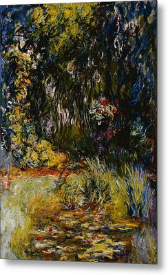 Corner Of A Pond With Waterlilies Metal Print by Claude Monet